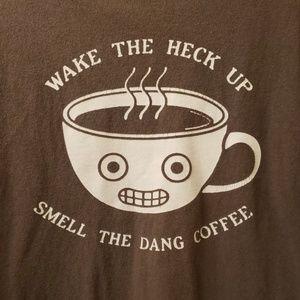 Funny wake the heck up coffee shirt size medium